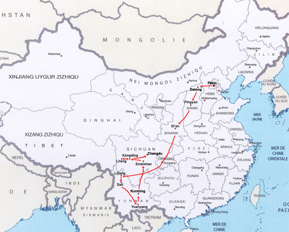 Itinéraire en chine