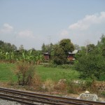 Vue du train sur les habitations